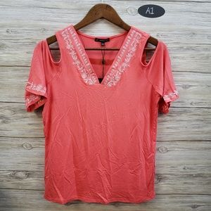 Adrianna Papell Coral Embroidery Cold Shoulder Top